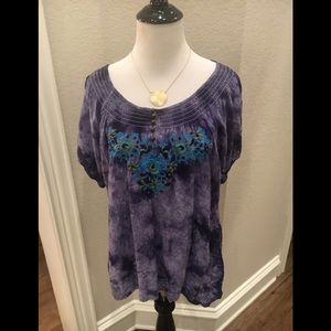 One World tie dye peasant embroidered blouse